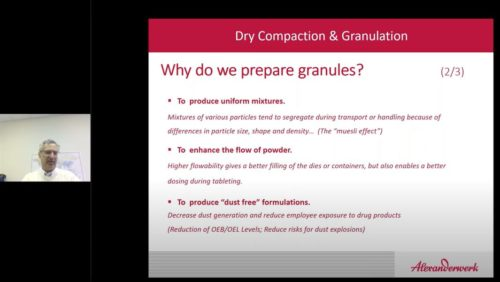 Al Friedrich explains benefits and usage of roller compaction and dry granulation